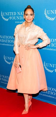 Jennifer Lopez in a head-to-toe peach Christian Siriano outfit