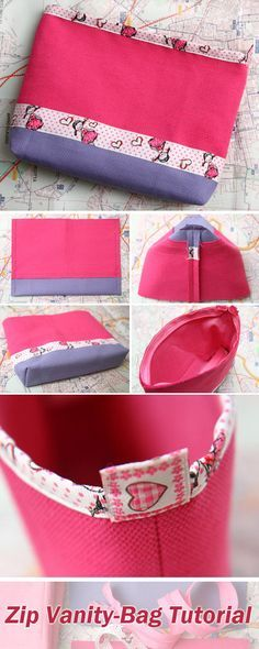 An Easy Way to Sew a Bright Zip Vanity-Bag. DIY Tutorial http://www.handmadiya.com/2017/04/zip-vanity-bag-tutorial.html
