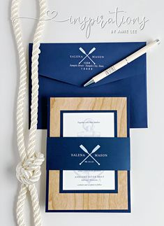 Clean and classic lines of navy blue and real wood for a timeless nautical wedding! Mailing Envelopes, Addressing Envelopes, Navy And White, Navy Blue, White Toner, Nautical Wedding Invitations, Boat Wedding, Nautical Design, Envelope Liners