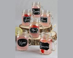 These rustic mason jars are a perfect party or wedding favor for your guests for any rustic affair. Your guests will love the personalized chalkboard labels on their party favor they can take home and enjoy.