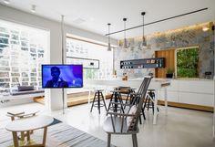 Holz Paravent Im Wohnzimmer Trennt Essplatz Von Kche