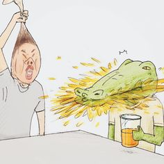 43 problems of a crocodile hilariously illustrated by japanese artist keigo Animal Art Projects, Funny Illustration, Animal Sketches, Layout, Japanese Artists, Disney Drawings, Bored Panda, Beautiful Birds, Coco