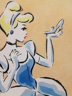 Spray Painted Disney Cinderella Stencil on Canvas by readysetygo