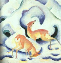 Franz Marc; Cervi nella neve; 1910; olio su tela; Lenbachhaus, Monaco.