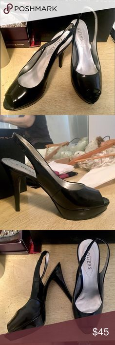 Guess Slingbacks Black patent leather slingbacks by Guess. The perfect black heels! Small platform in front as seen in photos. Great condition. Legit wear on bottom of shoe. No scuffs. Size 9.5. Guess Shoes Heels