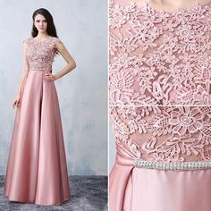 Chic A-line Scoop Pink Satin Applique Modest Prom Dress Evening Dress Satin Formal Dress, Formal Dresses, Dresses 2016, Homecoming Dresses, Bridesmaid Dresses, Beautiful Party Dresses, Kebaya Dress, Indian Gowns, Dress With Bow