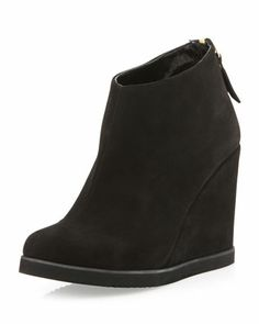 Bayla Suede Wedge Bootie, Black by Andre Assous