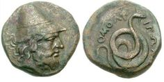 Philoktetes: The Trojan War HeroThis very rare Greek coin from the ancient city of Homolion in Thessaly shows the Trojan War hero Philoktetes wearing a pileus with a coiled serpent on the reverse along with the inscription OMOLEIΩN . It was minted...
