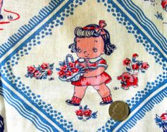 Vintage 1930's 40's  Feed Sack Fabric - Novelty LITTLE GIRLS & BOYS in Blue - Polka Dots, Birds and Flowers