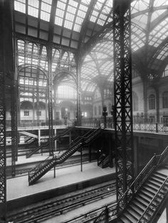 Pennsylvania Station, New York [beautiful glass vaults: gone. Needlessly complex circulation system: an enduring clusterfuck.]