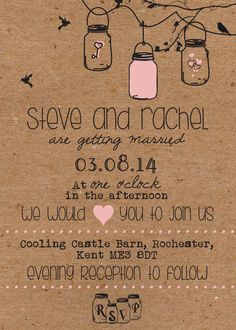 50 Personalised Jam Jar Country / Vintage Shabby Chic Wedding Invitations!
