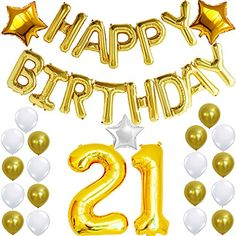 21st Birthday Party Pack Black Gold Happy Birthday Bu https