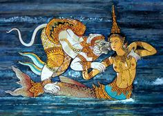 La sirène Suvannamaccha et le dieu singe Hanuman