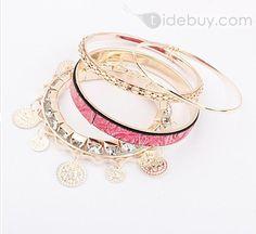 幻想的なピンク木目柄レディースファッション合金ブレスレットセット