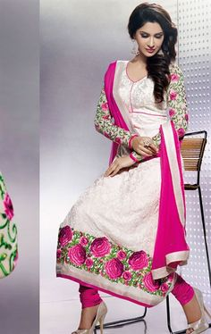 Picture of Stunning Cream Color Indian Wedding Salwar Suit