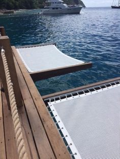 Sunrise Yacht Products Deck / Dock nets with unsupported side. Dock House, House Deck, Lake Dock, Lake Beach, Dock Hammock, Deck Hammock Ideas, Hammocks, Eging Am See, Lakeside Living