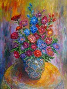 "Saatchi Art Artist Stefan Silvestru; Painting, ""Still life with gladiolus"" #art"
