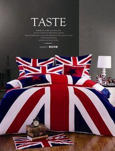Union Jack bedding set 4pcs 100% Cotton Duvet covers  bed linen sheets pillow cases British flag