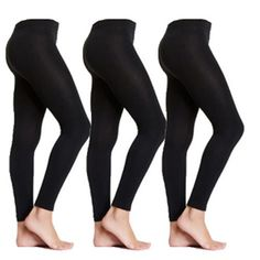 01e2494c392 3 Pairs S M Small Medium Black Fleece Lined Women s Womens Footless Tights