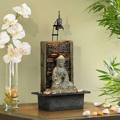 This serene tabletop Zen fountain features the figure of a seated Buddha meditating among a bed of rocks. Indoor Tabletop Fountains, Indoor Water Fountains, Indoor Fountain, Feng Shui, Meditation Room Decor, Meditation Space, Buddha Meditation, Tabletop Water Fountain, Buddha Zen