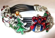 "VINTAGE ESTATE 7"" SILVERTONE/COLOR ENAMEL SLIDER HOLIDAY CHARM BRACELET"