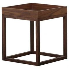 """A timeless canvas for a vase of bright blooms or your favorite family photos, this walnut-finished wood end table features a tray top and an open cube base.  Product: End tableConstruction Material: WoodColor: WalnutFeatures:  Tray topOpenwork baseDimensions: 18"""" H x 15.5"""" W x 15.5"""" D"""