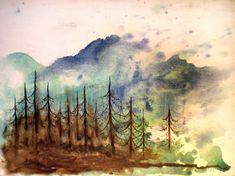 Planned background of loose watercolor patches developed into a landscape with the terms inked in.