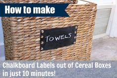How to make quick chalkboard labels from cereal boxes
