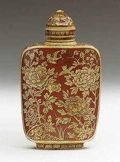 Snuff Bottle (Biyanhu) with Peonies, Chrysanthemums, and Prunus. Japan, Meiji period - Carved ivory with red lacquer, matching stopper.