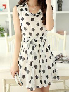 Choies White Polka Dot Dress With Tied Waist on shopstyle.com