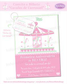 Kids&Babies: Party Printables :: Cavalos de Carrossel Party Printables, Map, Design, Carousel Horses, Ticket Invitation, Party, Location Map, Maps