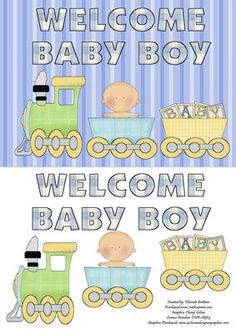 Welcome Baby Boy Card Front on Craftsuprint designed by Rhonda Brittain - This is a cute card to celebrate the arrival of a baby boy.  - Now available for download!