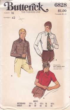 Vintage Early Men's Shirt Pattern Butterick 6828 Size 16 Chest 44 Uncut Designed for Knit Fabrics Only Mens Sewing Patterns, Butterick Sewing Patterns, Vintage Men, Retro Vintage, Mens Shirt Pattern, Fun Craft, Knit Shirt, Collar Shirts, Knitted Fabric