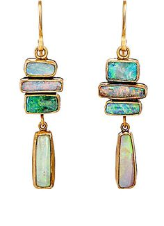 Judy Geib Opal Totem Double-Drop Earrings at Barneys New York Opal Earrings, Opal Jewelry, Jewelry Art, Jewelry Accessories, Fine Jewelry, Jewelry Design, Fashion Jewelry, Drop Earrings, Chandelier Earrings