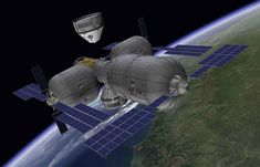 This artist's illustration depicts a Boeing CST-100 spacecraft approaching a private inflatable space station complex designed by Bigelow Aerospace.
