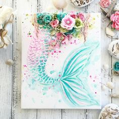 Painting mermaid tail beautiful 56 ideas for 2019 Mermaid Bedroom, Mermaid Nursery, Mermaid Wall Art, Mermaid Canvas, Mermaid Crafts, Mermaid Diy, Mermaid Style, Kids Room Paint, Kids Rooms