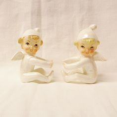 Vintage Christmas pair angel candle huggers candle climbers white lusterware