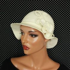 c949e7c96ff972 White hat felted, Cloche felt hat, Romantic hat glamorous, White brooch  felted Accessories woman