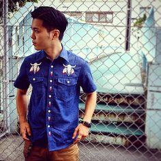 #ShareIG 【CALEE】DENIM DUNGAREE SHIRTS  #calee  #embroidery #denim #dungaree  #summer_collection  #select_shop  #eits  #okinawa  #naha