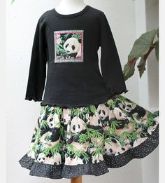 Girls Outfit Panda Girl Clothes Twirl Skirt by BerryPatchUSA #Handmade #Girls #Cotton #Clothing #Tween