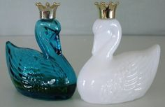 2 Vintage Avon Royal Swan Bottles Blue And White #Avon