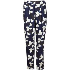 Kelly Love - Midnight Forest Trousers ($330) ❤ liked on Polyvore featuring pants, high-waisted trousers, patterned pants, highwaist pants, patterned trousers and straight pants