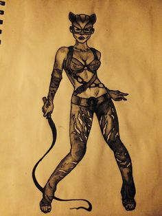 Cat woman tattoo design