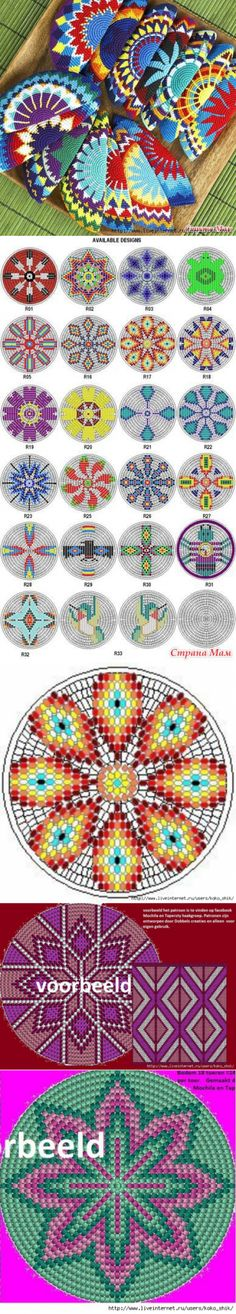 a la mochila - crochet patterns Mandala Au Crochet, Tapestry Crochet Patterns, Crochet Circles, Crochet Motifs, Crochet Chart, Crochet Stitches, Knitting Patterns, Mochila Crochet, Bag Crochet