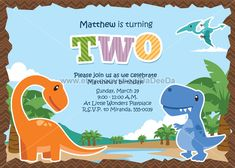 Little Dinosaurs Birthday Invitation by PoshPartyPrints on Etsy
