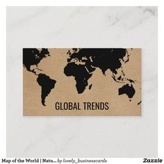 Map of the World | Natural Business Card