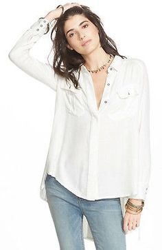 b7fcb15a7a550b 120959 New Free People One Of The Guys Buttondown Ivory Tunic Shirt Top S  Front Button