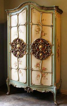 Antique vintage painted Amoire