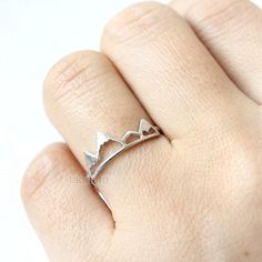 Mountain Ring/ choose your color- gold, silver and pink, mountain peak ring by laonato on Etsy https://www.etsy.com/listing/264826921/mountain-ring-choose-your-color-gold