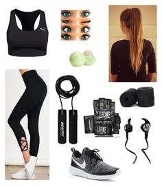 """""""Time to get to it (workout)"""" by alexaluc13 ❤ liked on Polyvore featuring Leone 1947, Puma, NIKE, Monster and Eos"""